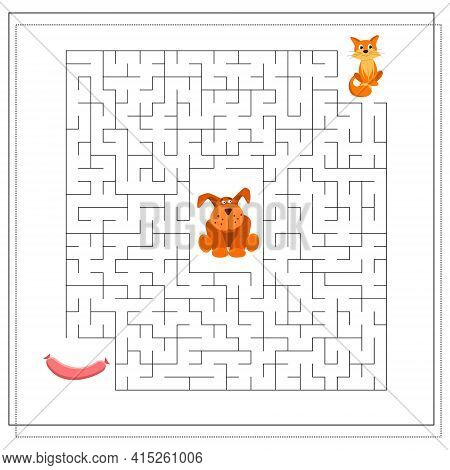 A Maze Game For Kids. Guide The Cat Through The Maze To The Sausage, So As Not To Get To The Dog. Ve