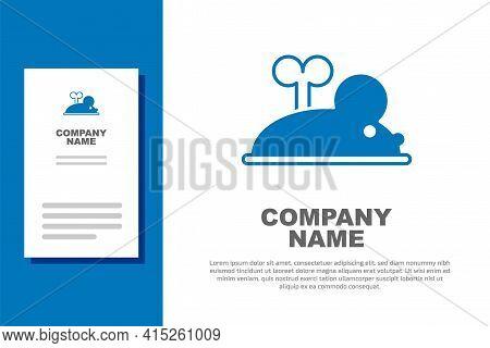 Blue Clockwork Mouse Icon Isolated On White Background. Wind Up Mouse Toy. Logo Design Template Elem