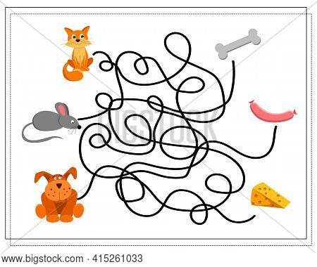 A Maze Game For Kids. Where Is Whose Food. Guide The Cat, Dog, Mouse Through The Intricate Maze To T