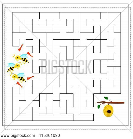A Maze Game For Kids. Guide The Bees Through The Maze To The Hive. Vector Isolated On A White Backgr
