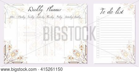Set Of Day Organization Templates With Tribal Mandala. Weekly Planner And To Do List. Geometric Boho