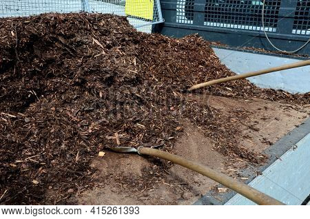Mulch Bark From Pieces Of Pine And Spruce To Prevent Weeds From Growing And Germinating Gardener Car