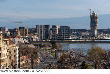 Sava River And The Belgrade Waterfront Urban Complex In Belgrade, Serbia