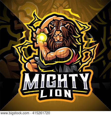 Mighty Lion Esport Mascot Logo Design With Text