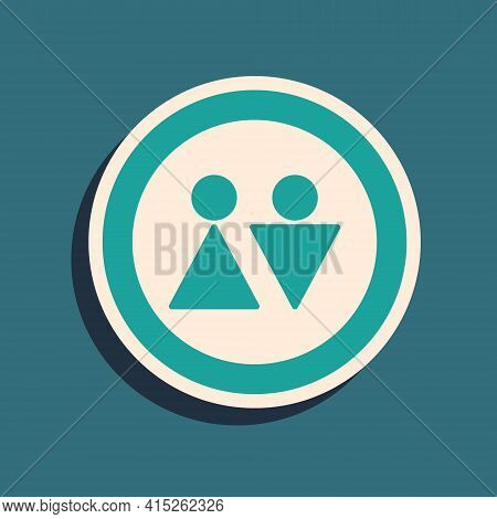 Green Toilet Icon Isolated On Green Background. Wc Sign. Washroom. Long Shadow Style. Vector