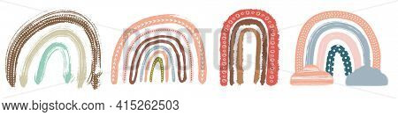 Scandinavian Boho Nursery Rainbow Print Set For Playroom With Neutral Gender Colors. Faboluos Object Isolated on White.