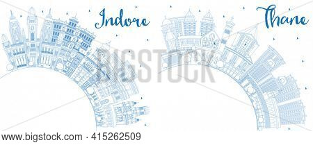 Outline Thane and Indore India City Skyline Set with Blue Buildings and Copy Space. Indore Madhya Pradesh Cityscape with Landmarks.