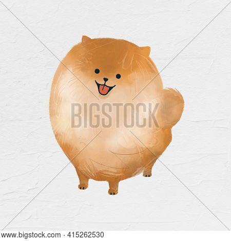 Pomeranian dog drawing on white background