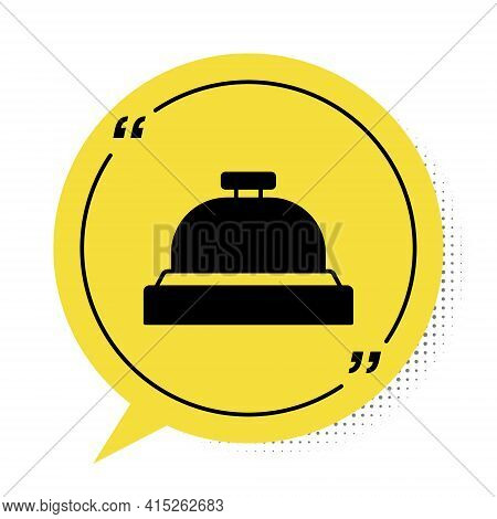Black Hotel Service Bell Icon Isolated On White Background. Reception Bell. Yellow Speech Bubble Sym