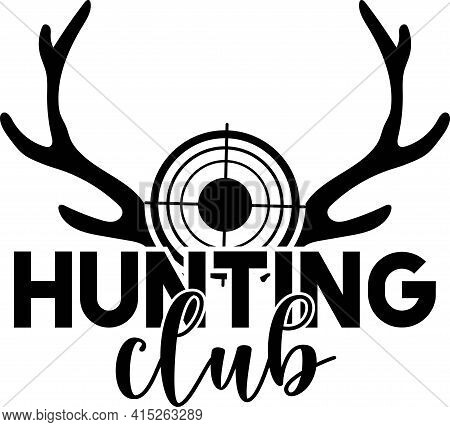 Hunting Club Isolated Vector Emblem Template. Illustration Of Target And Horns