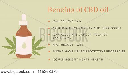 Infographic. Benefit Of Cbd Hemp Oil Web Banner In Organic Color With Bottle, Pipette And Marijuana