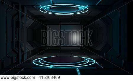 3d Rendering Round Platform In The Empty Room Computer Digital Image Podium Podium Circle Stage Blac