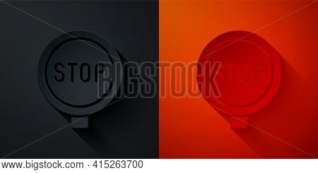 Paper Cut Stop Sign Icon Isolated On Black And Red Background. Traffic Regulatory Warning Stop Symbo
