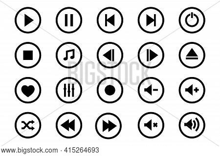 Media Player Icons Set. Set Of Media Player Icons In Line Style. Music, Interface, Design Media Play