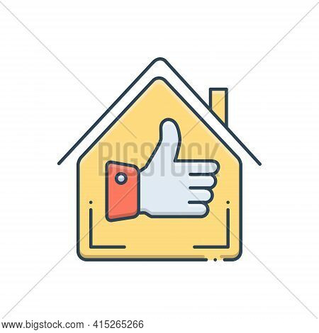 Color Illustration Icon For Best-home Best Home Exquisite Property Real-estate