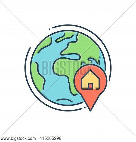 Color Illustration Icon For Global-real-estate-location Global Real Estate Location Navigation