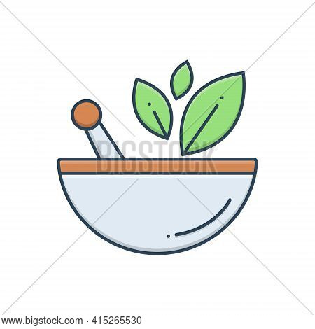 Color Illustration Icon For Naturopathy Natural-treatment Ayurvedic-treatment Leaf Medicine