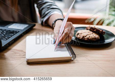 Copywriter, Content Creator, Remote Copywriting. Young Woman Freelancer Typing On Keyboard Using Lap