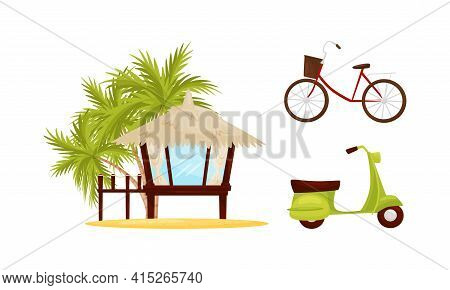 Vietnam Country Landmarks With Bungalow With Straw Roof And Motorbike Vector Set