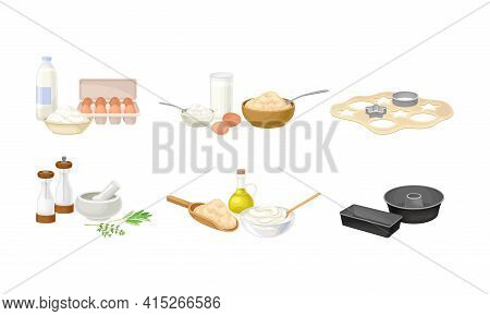 Baking Process With Herbs Pounding With Pestle And Dough Molding Using Cookware Vector Set