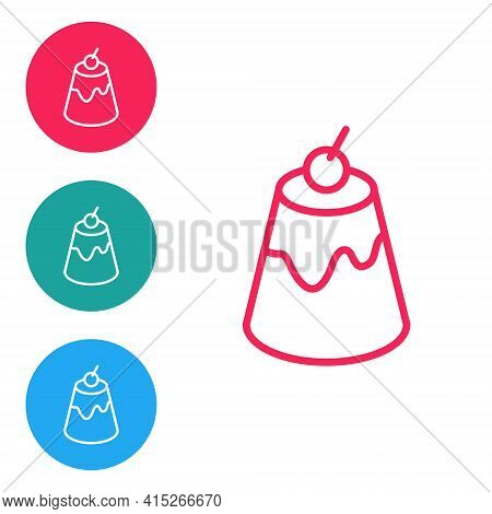 Red Line Pudding Custard With Caramel Glaze Icon Isolated On White Background. Set Icons In Circle B