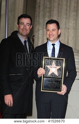 LOS ANGELES - JAN 25: Carson Daly, Jimmy Kimmel at a ceremony where  Jimmy Kimmel is honored with a star on the Hollywood Walk of Fame on January 25, 2013 in Los Angeles, California