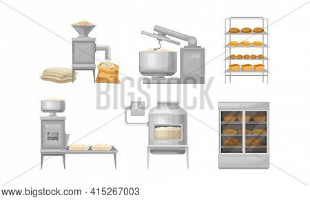 Bread Production With Kneading Dough, Loaf Molding And Cereal Grain Grinding Vector Illustration Set