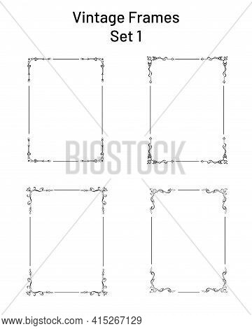 Set Of 4 Unique Retro Ornate Frames With Corner Flourishes, Collection Of Exclusive Rectangle Vignet