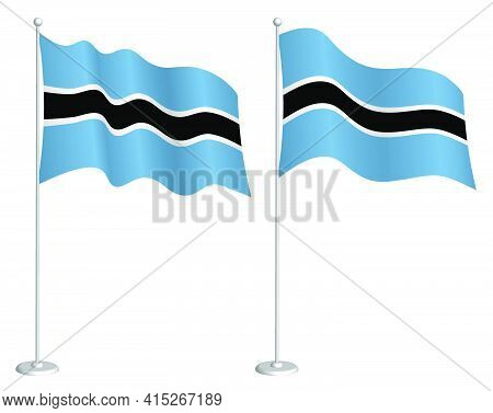 Flag Of Botswana On Flagpole Waving In Wind. Holiday Design Element. Checkpoint For Map Symbols. Iso