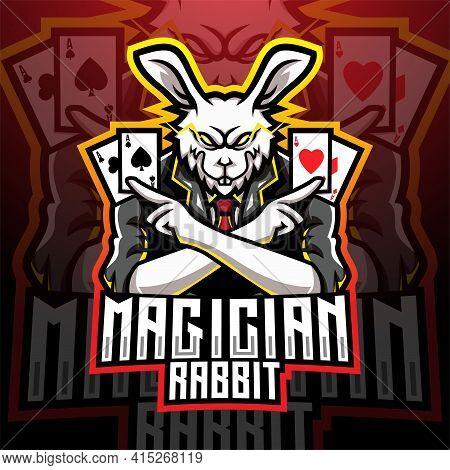 Magician Rabbit Esport Mascot Logo Design With Text