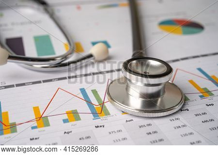 Stethoscope On Charts And Graphs Paper, Finance, Account, Statistics, Investment, Analytic Research