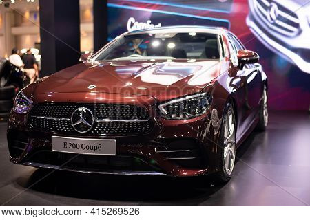 Nonthaburi, Thailand - March 25,2021 : View Of Mercedes-benz E 200 Coupe' Amg Car On Display At Thai