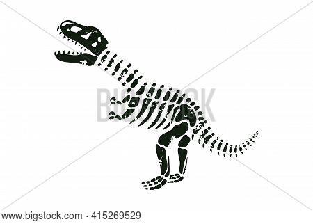 Vector Illustration Of Tyrannosaurus Black Skeleton Silhouette.