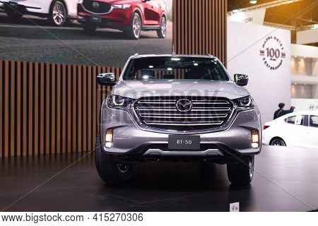 Nonthaburi, Thailand - March 25,2021 : View Of All-new Mazda Bt-50 Hi Racer Car On Display At Thaila