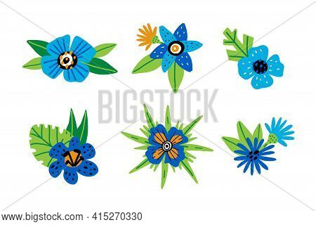 Doodle Floral Conposition. Hand Drawn Cartoon Leaves And Blue Flowers, Abstract Botanical Decor, Dec