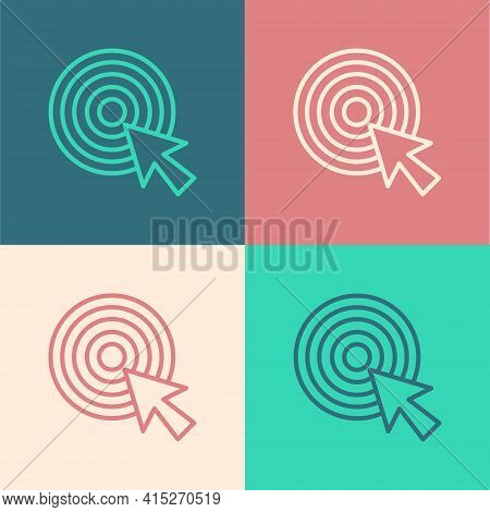 Pop Art Line Target With Arrow Icon Isolated On Color Background. Dart Board Sign. Archery Board Ico