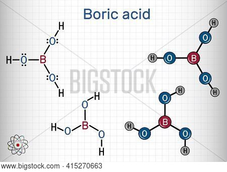 Boric Acid, Hydrogen Borate, Boracic Acid, Orthoboric Acid Molecule. It Is Hydrate Of Boric Oxide Wi