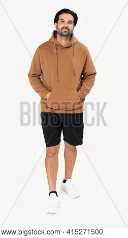 Indian man wearing basic brown hoodie