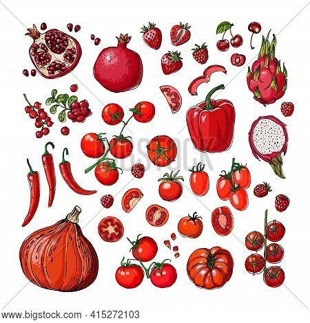 Red. Vector Food. Colored Vegetables And Fruits On A White Background. Tomato, Pumpkin, Dragon Fruit