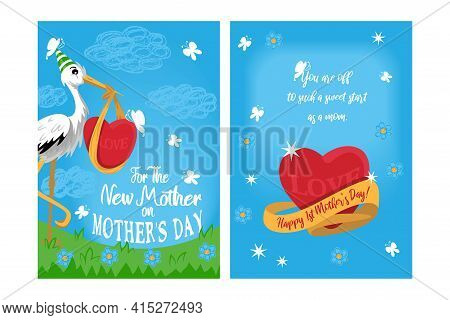 Double-sided A6 Or A5 Postcard Template For A New Mother On Mother's Day. Stork In A Birthday Cap Ho