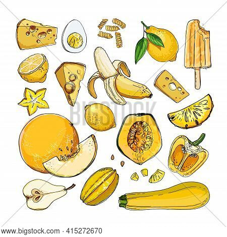 Yellow. Vector Food. Colored Vegetables And Fruits On A White Background. Pumpkin, Banana, Zucchini,