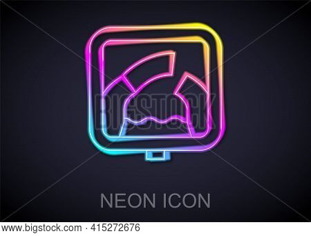 Glowing Neon Line Drawbridge Ahead Icon Isolated On Black Background. Information Road Sign. Vector