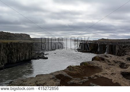 Dettifoss Waterfall In Iceland At Summer Day