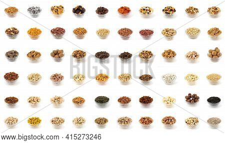 Collection Of Aromatic Spices And Condiments In Glass Jars Over White Backgrounds, Collage Backgroun
