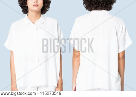 Women's white blouse with design space basic wear