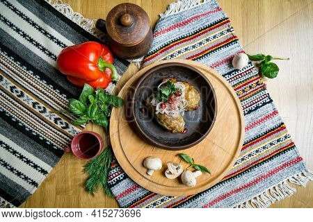 Delicious European And Slavic Cuisine On The Big Table Waiting For Guests. Table With Food, Top View