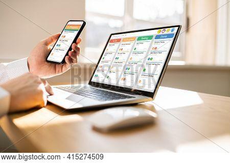 Kanban Scrum Schedule Board Plan App On Management Tablet