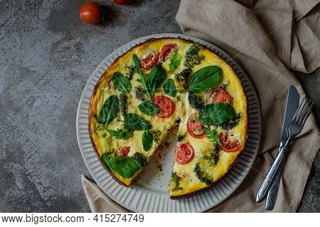 Pie Quiche Traditional Homemade French Food Preparation On Dark Wooden Table Background