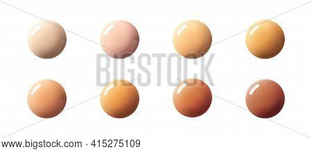 Liquid Bb Cream Or Foundation Drops Swatch. Set Glow Cc Cream Sample Isolated On White Background Re