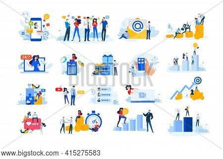 Set Of Modern Flat Design People Icons. Vector Illustration Concepts Of Investment, Business Success